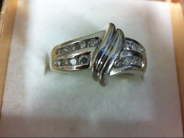 Lady's Diamond Wedding Band 18 Diamonds 0.54 Carat T.W. 14K White Gold 4.8g