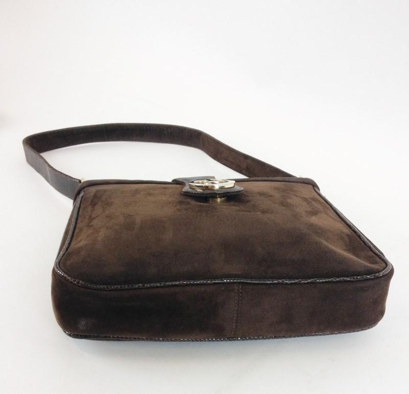 GUCCI VINTAGE BROWN SUEDE/SKIN SHOULDER BAG