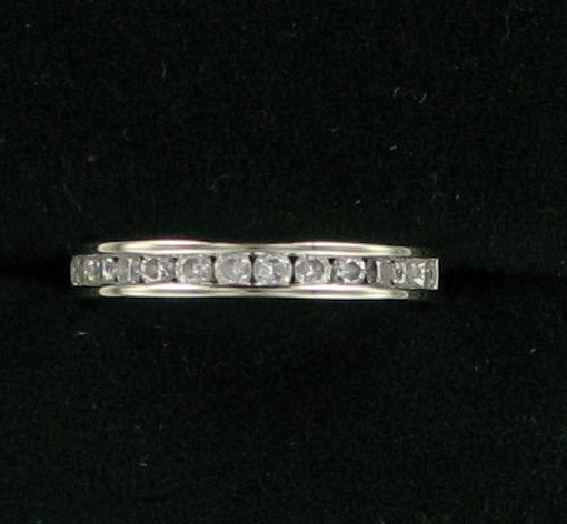 Lady's Diamond Wedding Band 14 Diamonds .42 Carat T.W. 14K White Gold 1.9dwt