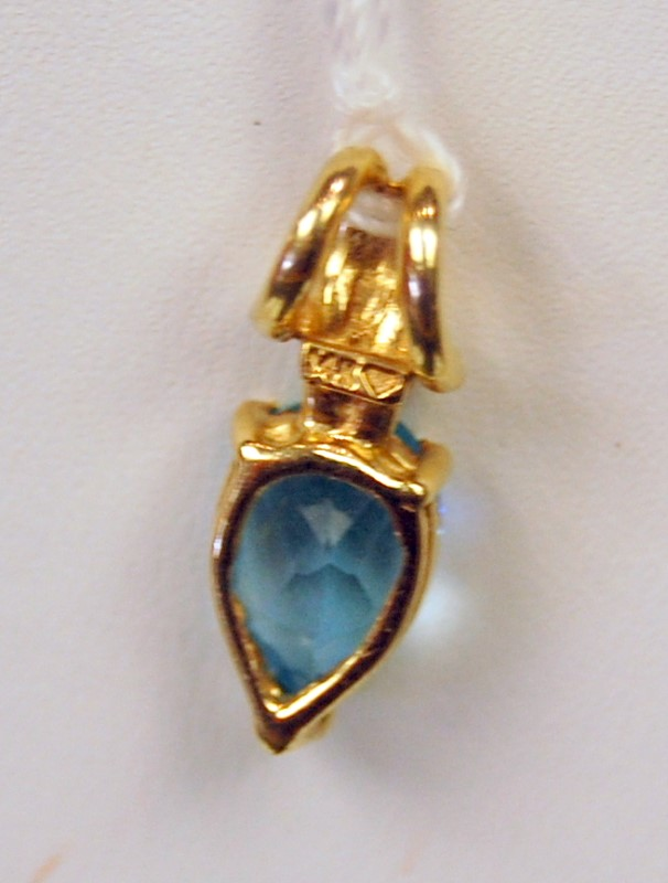 Synthetic Blue Topaz Gold-Stone Pendant 14K Yellow Gold 1.4g