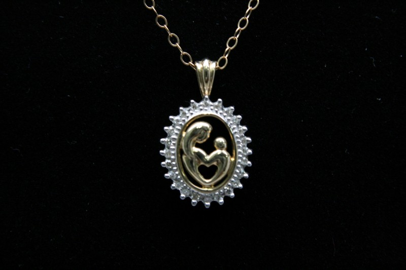 MOTHER & CHILD DIAMOND PENDANT 10K YELLOW GOLD