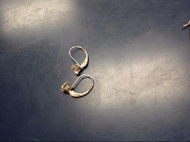 White Stone Gold-Stone Earrings 14K Yellow Gold 0.8dwt
