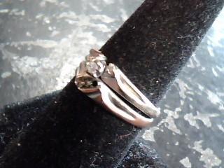 Lady's Diamond Solitaire Ring 5 Diamonds .05 Carat T.W. 14K White Gold 2.6dwt