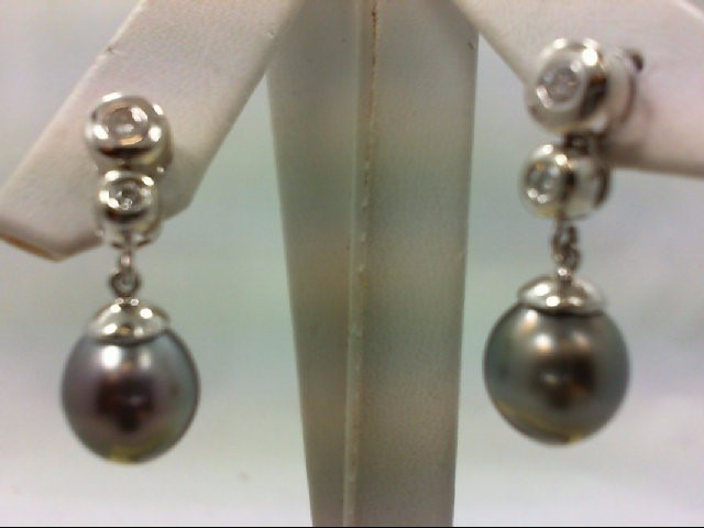 Pearl Gold-Diamond & Stone Earrings 4 Diamonds .16 Carat T.W. 18K White Gold