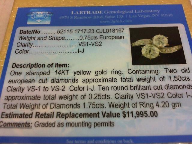Lady's Diamond Fashion Ring 12 Diamonds 1.70 Carat T.W. 14K Yellow Gold 4.2g