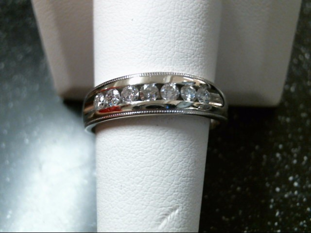 Gent's Gold-Diamond Wedding Band 7 Diamonds .42 Carat T.W. 14K White Gold 5.5g