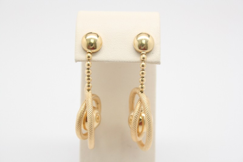 FANCY DESIGN DANGLE STYLE 18K YELLOW EARRINGS