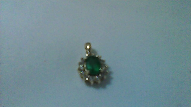 Emerald Gold-Diamond & Stone Pendant 14 Diamonds .14 Carat T.W. 14K Yellow Gold