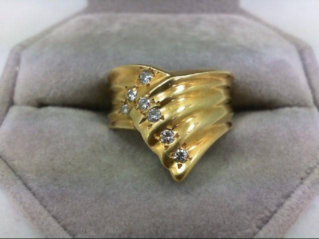 Lady's Diamond Cluster Ring 7 Diamonds 0.21 Carat T.W. 18K Yellow Gold 8.8g Size