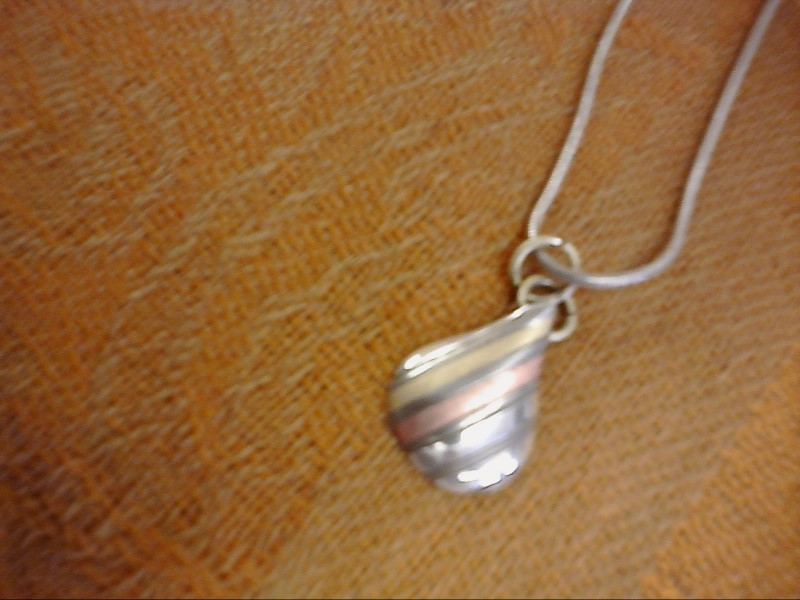 NECKLACE JEWELRY JEWELRY; ROPE NECK. WITH TEAR DROP CHARM WITH BROWN LINES IN IT