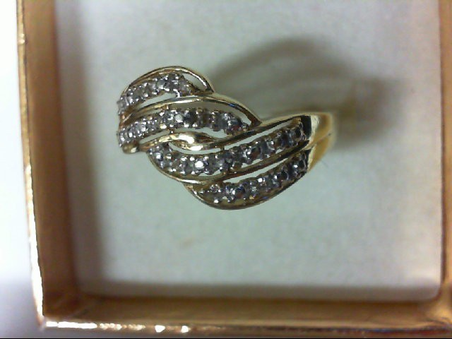 Lady's Diamond Cluster Ring 16 Diamonds 0.32 Carat T.W. 10K Yellow Gold 2g