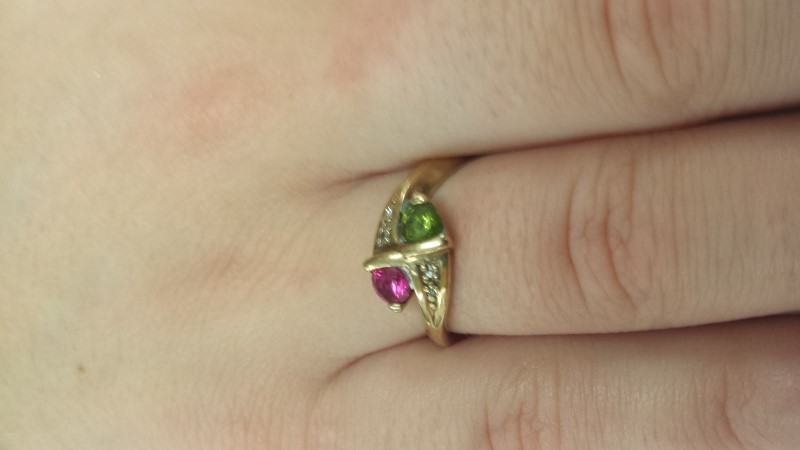 Pink Stone Lady's Stone Ring 10K Yellow Gold 2.03g