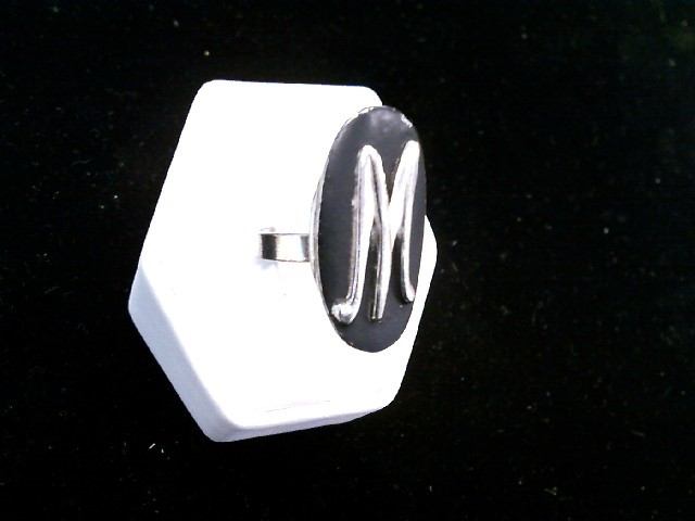 "Vintage Ladies Silver Toned Black ""M"" Adjustable Fit Fashion Ring"