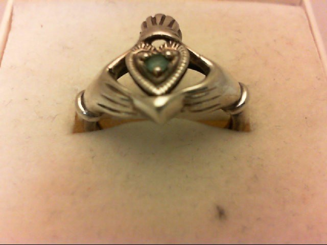 Synthetic Green Stone Lady's Silver & Stone Ring 925 Silver 2.7g