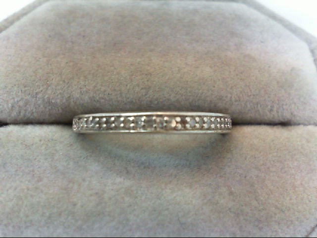 Lady's Silver-Diamond Ring 11 Diamonds .11 Carat T.W. 925 Silver 2g