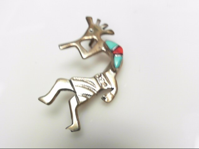 STERLING SILVER ZUNI TURQ CORAL PIN