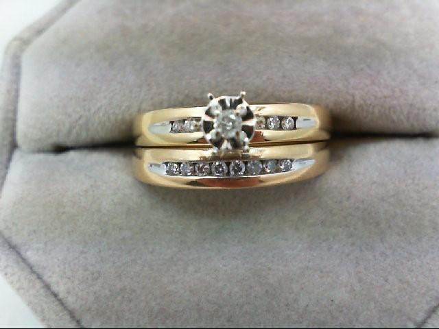 Lady's Diamond Wedding Set 15 Diamonds 0.33 Carat T.W. 10K Yellow Gold 4.9g