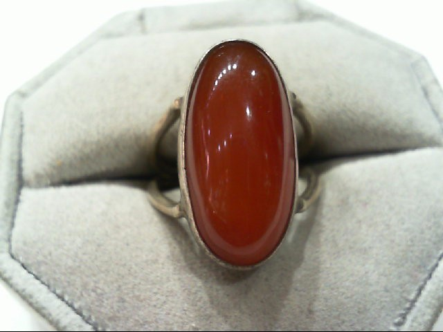 Beautiful Lady's Silver with Nice Large Oval Carnelian Ring 925 Silver 6.1grams