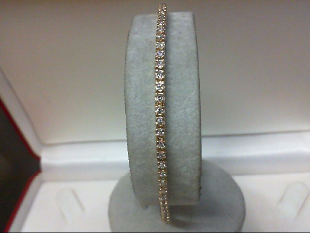 Gold-Diamond Bracelet 79 Diamonds 1.58 Carat T.W. 14K Yellow Gold 6.6g