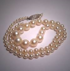 """Mikimoto 18.5"""" Pearl Strand Stone Necklace 925 Silver 23.37g"""
