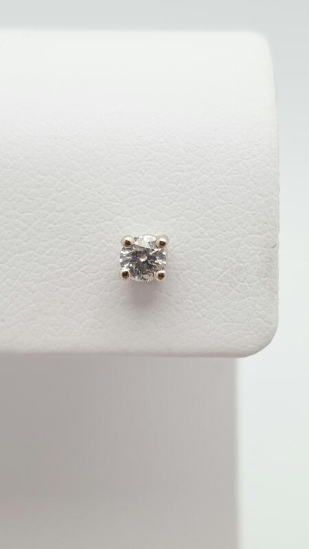 Gold-Diamond Earrings .12 CT. 14K White Gold 0.4g