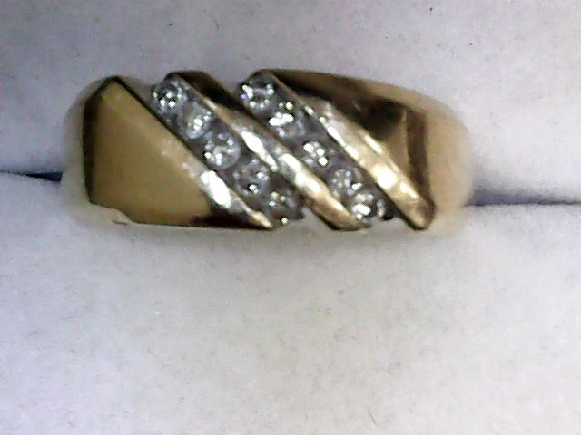 Gent's Gold-Diamond Wedding Band 10 Diamonds .30 Carat T.W. 14K Yellow Gold