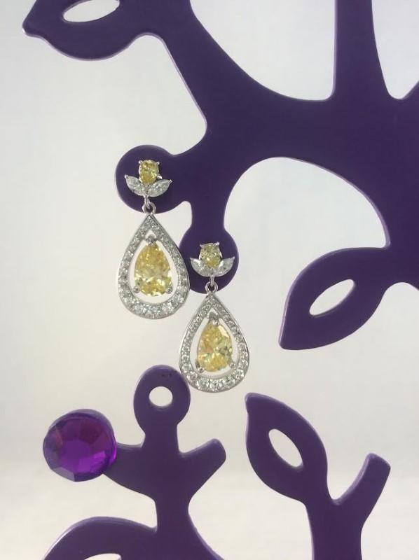 Cubic Zirconia Silver-Stone Earrings 925 Silver 4.62g