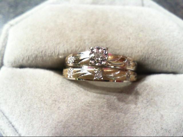 Lady's Diamond Wedding Set 6 Diamonds .06 Carat T.W. 14K 2 Tone Gold 3g