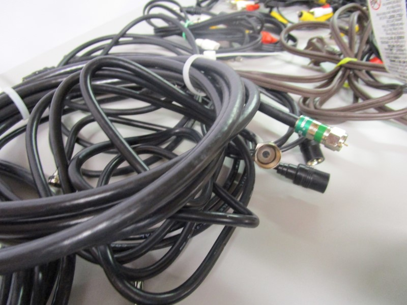 LOT OF ASSORTED AUDIO, VIDEO, AND POWER CABLES, ADAPTERS, RCA, CAT 6, MINI, ETC.
