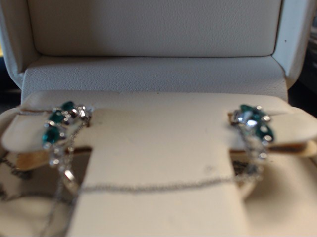 Synthetic Emerald Gold-Diamond & Stone Earrings 4 Diamonds .04 Carat T.W.