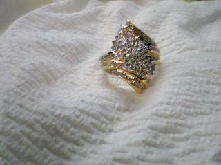 Lady's Silver-Diamond Ring 134 Diamonds 2.16 Carat T.W. 925 Silver 7.4g