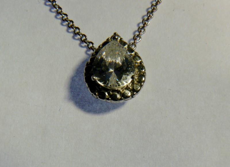 White Stone Silver-Stone Pendant Silver Plate 1.7dwt