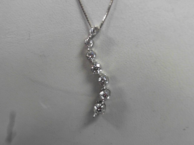 Diamond Necklace 7 Diamonds .38 Carat T.W. 14K White Gold 1.87g