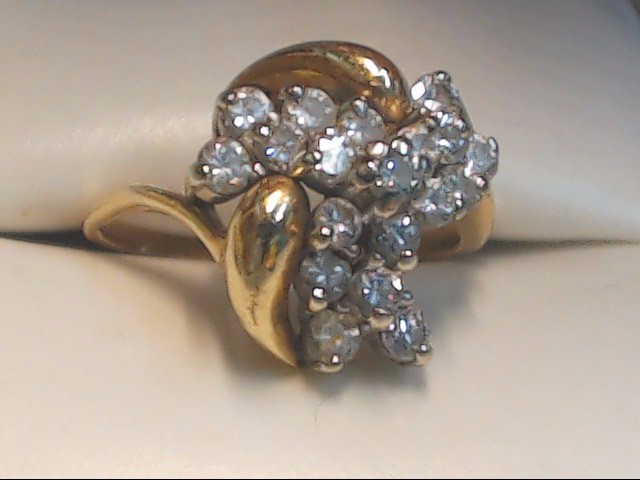 Lady's Diamond Cluster Ring 19 Diamonds .95 Carat T.W. 10K Yellow Gold 3.7g