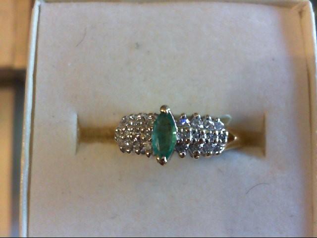 Emerald Lady's Stone & Diamond Ring 24 Diamonds .24 Carat T.W. 14K Yellow Gold
