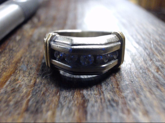 Lady's Diamond Wedding Band 5 Diamonds .75 Carat T.W. 14K 2 Tone Gold 8.9g