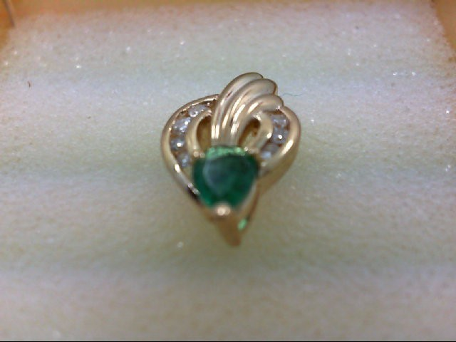 Emerald Gold-Diamond & Stone Pendant 7 Diamonds 0.14 Carat T.W. 14K Yellow Gold