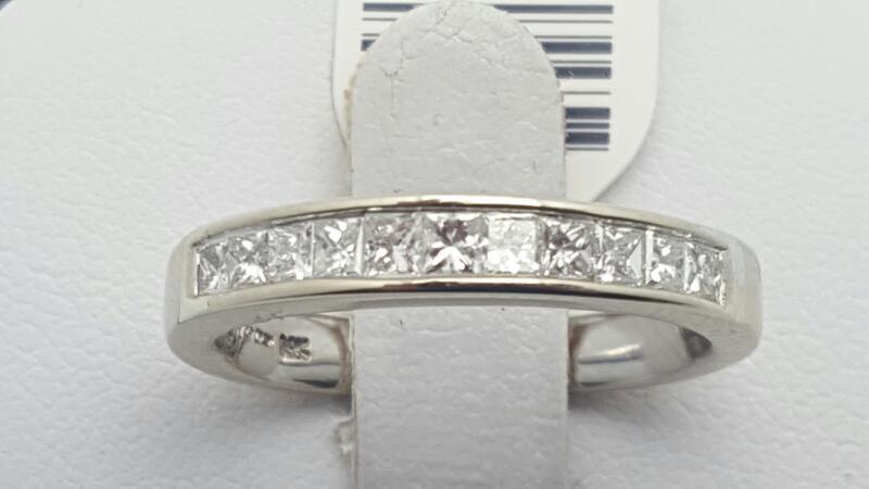 Lady's Gold-Diamond Anniversary Ring 10 Diamonds .50 Carat T.W. 14K White Gold