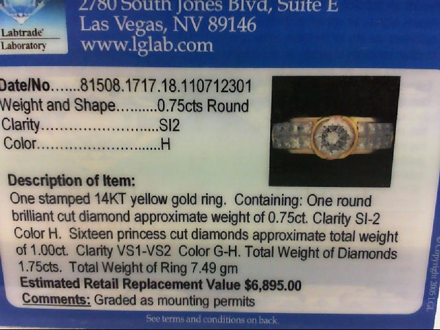 Lady's Diamond wedding band 17 Diamonds .91 Carat T.W. 14K Yellow Gold 7.49g