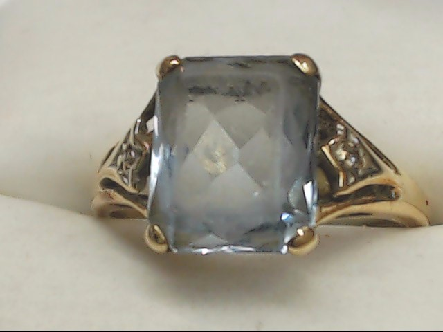 Blue Stone Lady's Stone Ring 10K Yellow Gold 3g Size:7