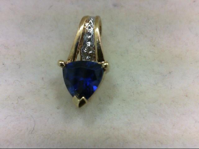 Sapphire Gold-Diamond & Stone Pendant 0.02 CT. 10K Yellow Gold 1.1g
