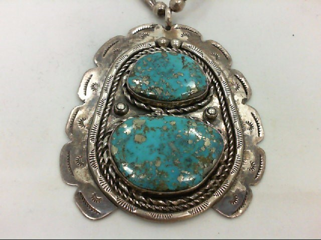 turq squash type necklace. 925 Silver 101.2g