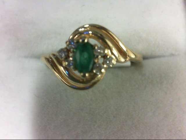 Emerald Lady's Stone & Diamond Ring 6 Diamonds 0.06 Carat T.W. 14K Yellow Gold 2