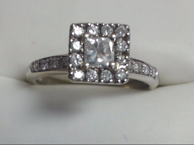 Lady's Diamond Cluster Ring 21 Diamonds .60 Carat T.W. 14K White Gold 2.7g