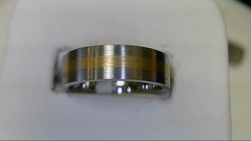NEW COBALT CHROMIUM SZ 7 14KYG INLAYED WED BAND