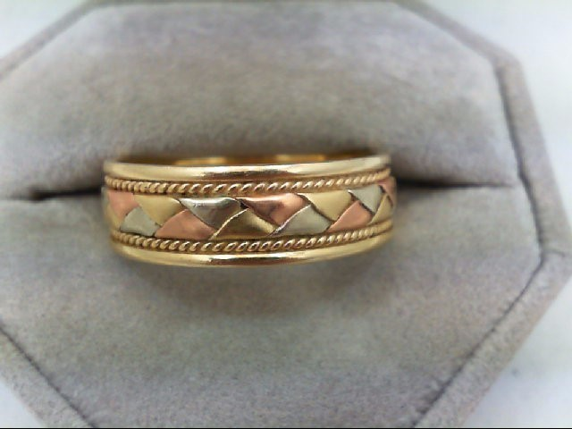 Gent's Gold Wedding Band 14K Tri-color Gold 7.5g Size:13