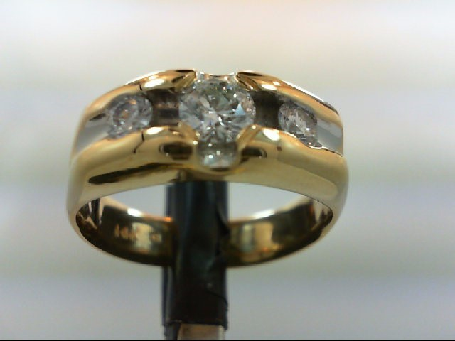 Gent's Gold-Diamond Wedding Band 3 Diamonds 1.00 Carat T.W. 14K Yellow Gold