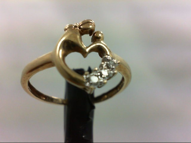Lady's Diamond Fashion Ring 3 Diamonds 0.03 Carat T.W. 10K Yellow Gold 1.5g Size