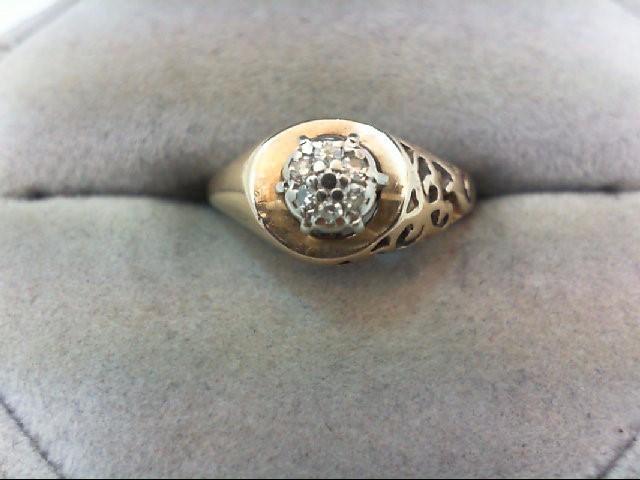 Lady's Diamond Cluster Ring 7 Diamonds .07 Carat T.W. 10K Yellow Gold 2.8g