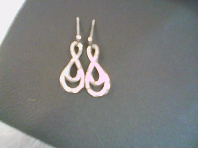 Silver-Diamond Earrings 12 Diamonds .12 Carat T.W. 925 Silver 2.7g